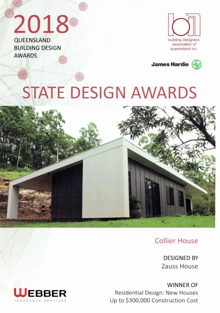 BDAQ & James Hardie 2018 State Design Awards Winner Residential Design: New Houses up to $300,000 construction cost - Collier House